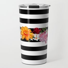 flowers on black and white stripes Travel Mug