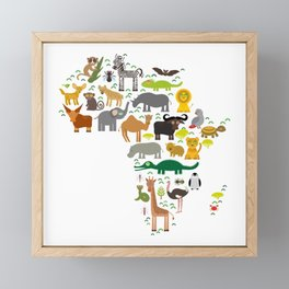 map of Africa: parrot Hyena Rhinoceros Zebra Hippopotamus Crocodile Turtle Elephant Mamba snake Framed Mini Art Print
