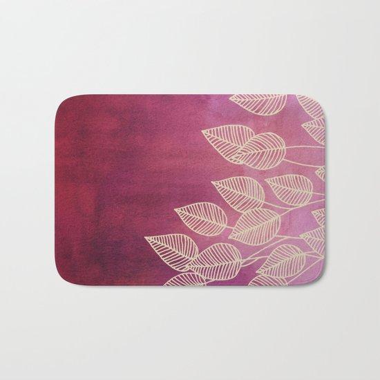 Magenta Garden - watercolor & ink leaves Bath Mat