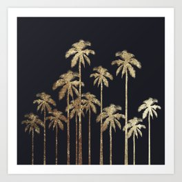Glamorous Gold Tropical Palm Trees on Black Art Print