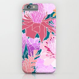 Ginger Flowers in Coral + Dark Teal Green iPhone Case