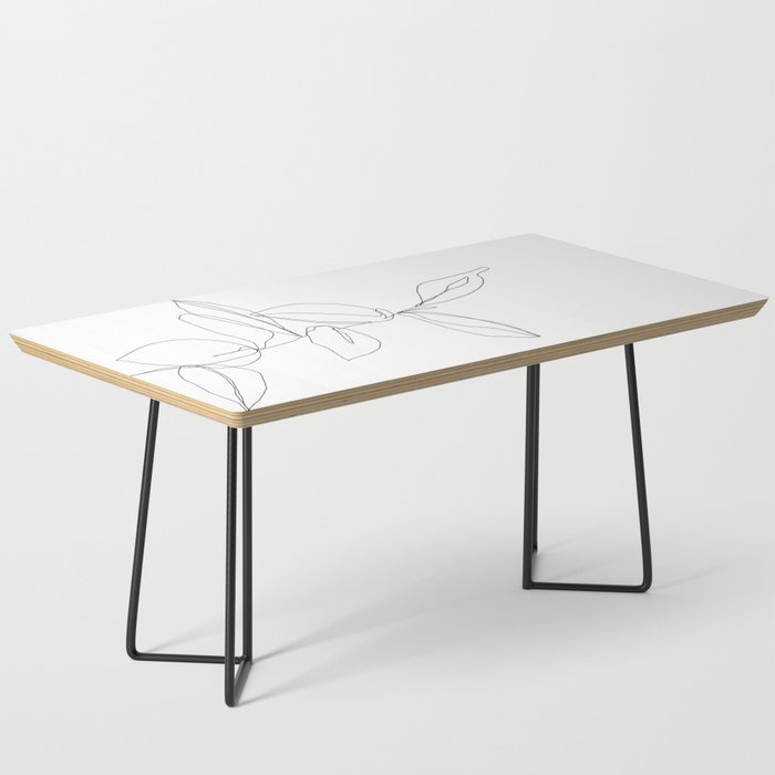 One line minimal plant leaves drawing - Berry Coffee Table