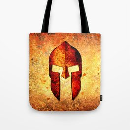 Spartan Helmet On Rust Background - Molon Labe Tote Bag