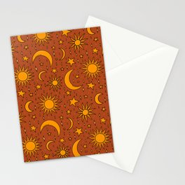 Vintage Sun and Star Print in Rust Stationery Cards