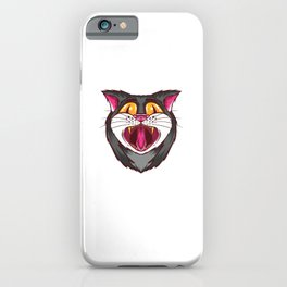 Yawning psychedelic cat - on LSD and ecstasy iPhone Case