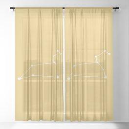 Leo Zodiac Constellation - Warm Yellow Sheer Curtain