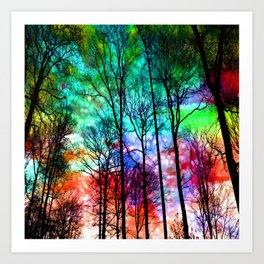 colorful abstract forest Art Print