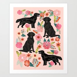 Flat Coated Retriever dog breed pet art dog floral pattern gifts for dog lover pet friendly Art Print