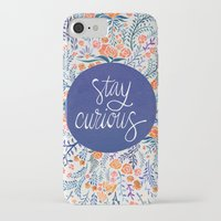 navy iPhone & iPod Cases featuring Stay Curious – Navy & Coral by Cat Coquillette