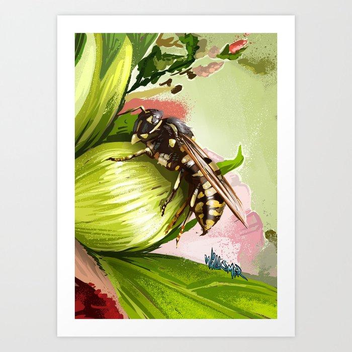 Wasp on flower 6 Art Print