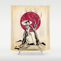 geisha Shower Curtains featuring Geisha by Rafapasta