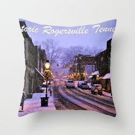 Historic Rogersville Tennessee In Winter Throw Pillow