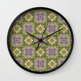 Limerick sap green yellow and purple pattern Wall Clock