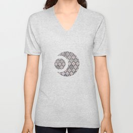 Blush And Grey Moroccan Tiles  Unisex V-Neck