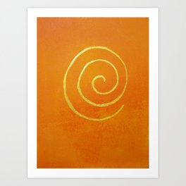 Infinity Bright Orange With Gold Abstract Modern Art Painting Art Print