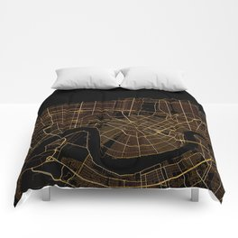 Black and gold New Orleans map Comforters