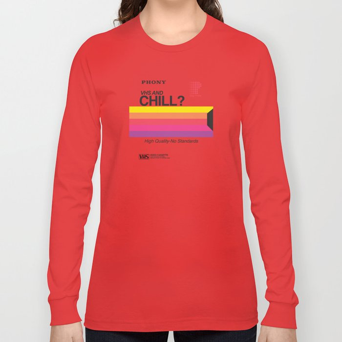 fd0ebb1efc0 VHS and Chill Long Sleeve T-shirt by anthonytroester   Society6