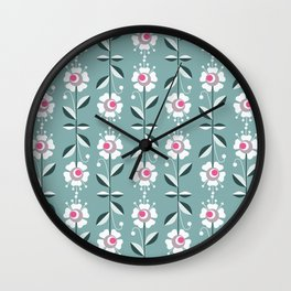 Retro . Floral pattern on a blue background . Wall Clock