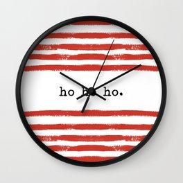red stripes-ho ho ho Wall Clock