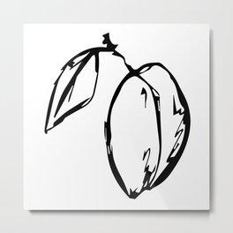 Black and white plum Metal Print
