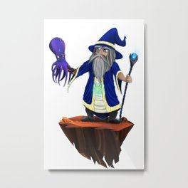 The Wizard & The Octopus Metal Print