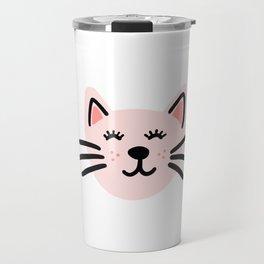 Cute pink cat Travel Mug
