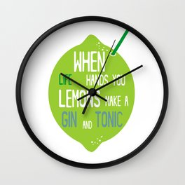 Gin and Tonic with Lemon Straw Art Print Home Decor Kitchen Interior Printing Cocktail green Wall Wall Clock