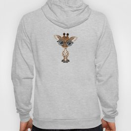 Cute Curious Baby Giraffe Wearing Glasses Hoody