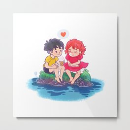 ponyo on the cliff by the sea Metal Print
