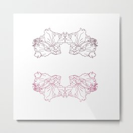 Beautiful pinky flowers line art Metal Print