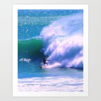 surfer Art Prints featuring Surfer by suzyoconnor