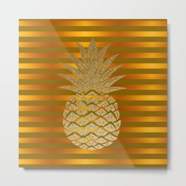 GLITTER PINEAPPLE ON GOLD BROWN STRIPES Metal Print
