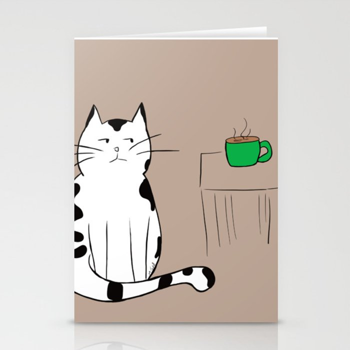 Java the Coffee Cat Stationery Cards