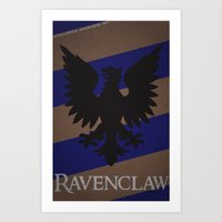 ravenclaw Art Prints featuring Ravenclaw by Fanboy's Canvas