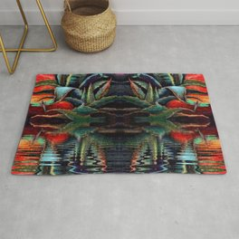 SURREAL DESERT AGAVE & BLUE DRAGONFLIES REFLECTIONS Rug