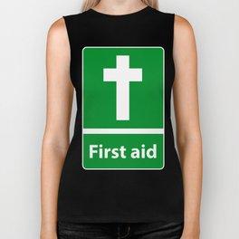 First Aid Cross - Christian Sign Illustration Biker Tank