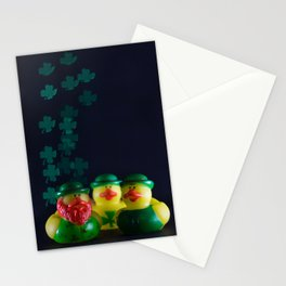 Happy St. Patrick's Day with St. Patrick's Day Rubber Ducks and Shamrock Shaped Bokeh Stationery Cards
