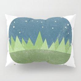 Inspirational round print with landscape Pillow Sham