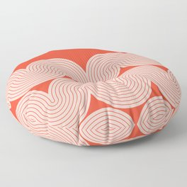 Abstract Wave Lines Pattern in Rose gold and Rust themed Floor Pillow