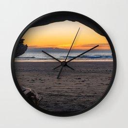 Driftwood Window Sunset Wall Clock