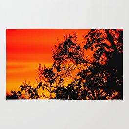 Silhouette of leaf with red autumn sky #decor #society6 Rug