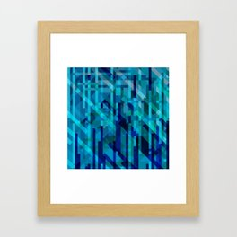 abstract composition in blues Framed Art Print