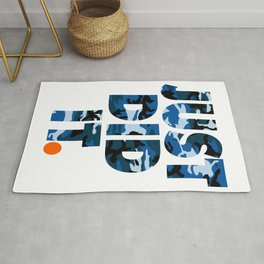 JUST DID IT. blue camo Rug