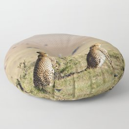 Two cheetahs on the look out Floor Pillow