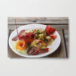 Steamed whole Maine lobster with fresh garnishes Metal Print