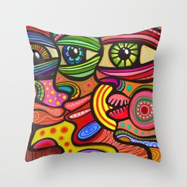 Abstract Folk Art People Painting Throw Pillow