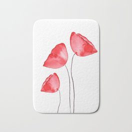 3 red poppies watercolor Bath Mat