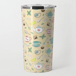Pretty Vintage Teacups Afternoon Tea Pattern Travel Mug