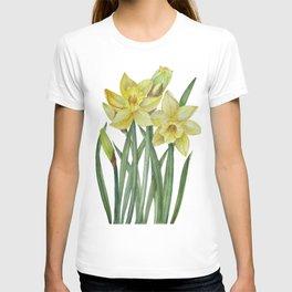Watercolor Daffodils Botanical Illustration T-shirt