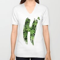 marijuana V-neck T-shirts featuring Marijuana H by Spyck